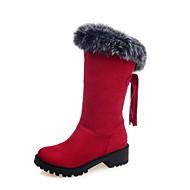 Women's Boots Spring Fall Winter Comfort Fur Fleece Office & Career Casual Athletic Chunky Heel Tassel Black Brown Red Hiking