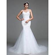 Lanting Bride® Trompete / Meerjungfrau Hochzeitskleid Hof Schleppe Riemchen Tüll mit Applikationen