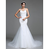 Lanting Bride® 트럼펫 / 머메이드 웨딩 드레스 코트 트레인 스트랩 튤 와 아플리케