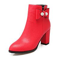 נשים-מגפיים-נצנצים דמוי עורשחור אדום לבן-שמלה יומיומי מסיבה וערב-עקב עבה