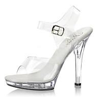 נעלי נשים-עקבים-PVC-עקבים / סנדלים-שחור / בהיר-חתונה / קז'ואל / מסיבה וערב-עקב סטילטו