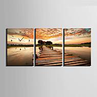 E-HOME® On The River Bridge Clock in Canvas 3pcs