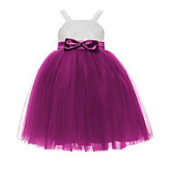 Ball Gown Tea-length Flower Girl Dress - Lace / Tulle Sleeveless Spaghetti Straps with Bow(s) / Lace / Sash / Ribbon