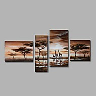 Hand-Painted Modern Abstract Giraffe Sunset African Landscape Oil Painting on Canvas 4pcs/set With Frame Ready To Hang
