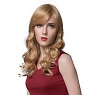 여성을위한 천연 물결 모양의 긴 금발 인간의 머리 가발