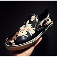 גברים-נעליים ללא שרוכים-עור-סגור-שחור-שטח / קז'ואל-עקב שטוח