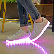 Damen-Flache Schuhe-Lässig-PU-Flacher Absatz-Komfort Light Up Schuhe-Weiß
