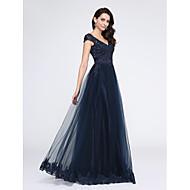 TS Couture® Formeller Abend Kleid A-Linie V-Ausschnitt Boden-Länge Tüll mit Applikationen / Perlstickerei