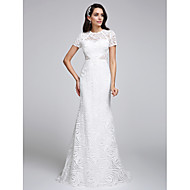 Lanting Bride Trumpet / Mermaid Wedding Dress Sweep / Brush Train Jewel Lace with Lace