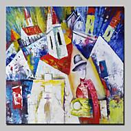 Dipinta a mano Astratto / Riproduzione / Paesaggi / Paesaggi astratti Dipinti ad olio,Classico Un Pannello Tela Hang-Dipinto ad olio For