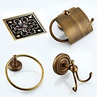 Bathroom Accessory Set / Towel Ring / Toilet Paper Holder / Robe Hook / Drain / Towel Warmer / Antique Bronze