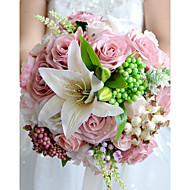 "Wedding Flowers Round Roses Lilies Bouquets Wedding Party/ Evening Polyester Satin Dried Flower 9.06""(Approx.23cm)"
