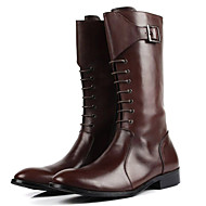 Bootsit-Tasapohja-Miesten-Nahka-Musta Ruskea-Rento