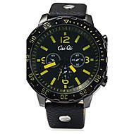 Men's Fashion Watch Quartz Compass Leather Band Cool Black Brand SHI WEI BAO