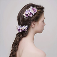 MISS DIVA  Women's Tulle Headpiece-Casual Hair Stick 2 Pieces Purple Flower 55