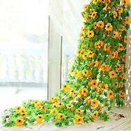 1 1 Ramo Seda Girassóis Guirlandas & Flor de Parede Flores artificiais 240CM