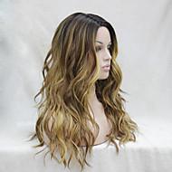 kvalitet varmebestandig medium brun med lys auburn og gyllen blonde tre tone ombre bølgete blonder foran lange parykk