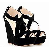 Women's Sandals Summer Sandals Leatherette Outdoor Wedge Heel ZipperBlack / Blue / Yellow / Green /