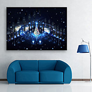 E-HOME® Stretched LED Canvas Print Art Square in The Night Christmas Series LED Flashing Optical Fiber Print One Pcs