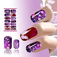 переноса воды стикер искусства ногтя этикеты цветка сексуальный кокетливый фиолетовый дизайн блеск для ногтей обертывания маникюр