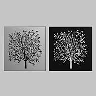 Impressão em tela esticada Arte Floral Black White Árvore Conjunto de 2