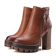 נשים-מגפיים-מיקרופייבר-מגפונים-שחור / חום / אפור / קפה-קז'ואל-עקב עבה