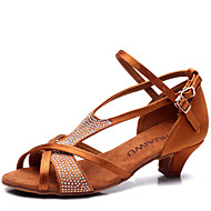 Latin Kid's Dance Shoes Sandals Satin Rhinestone Low Heel Brown/Black and White