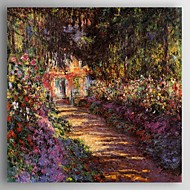 Oil Painting Road in Garden by Monet Hand Painted Canvas Painting with Stretched Framed Ready to Hang