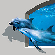 JAMMORY 3D Wallpaper Contemporary Wall Covering , Canvas Material Adhesive required Mural , Cute Little Dolphin