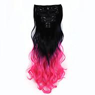 Nový zvlněná kudrnaté klip v prodloužení nástavce 16 klipů de cheveux stín na vlasy blacktpink 7ks umělých vlasů 130 g