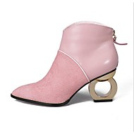 Women's Boots Fashion Boots Suede Fall Winter Outdoor Fashion Boots Zipper Chunky Heel Gray Blushing Pink 1in-1 3/4in