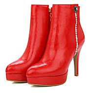 Bootsit-Piikkikorko-Naisten-Tekonahka-Musta Punainen Valkoinen Hopea-Toimisto Rento-Saappaat