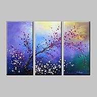 Ručno oslikana Cvjetni / Botanički ulja na platnu,Klasika / Moderna Tri plohe Platno Hang oslikana uljanim bojama For Početna Dekoracija