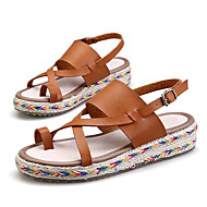 Women's Sandals Summer Toe Ring / Sandals / Creepers PU Outdoor / Casual Platform Buckle Black / Brown / Green / White