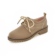 Women's Lace-up Low-heels Imitated Suede Solid Round Closed Toe Pumps-Shoes