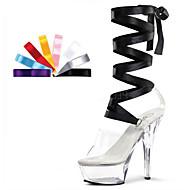 נשים-עקבים-PVC בד-פלטפורמה נעלי מועדון להאיר נעליים-שחור אדום-חתונה יומיומי מסיבה וערב-עקב סטילטו פלטפורמה