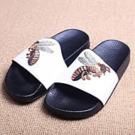 Unissex-Chinelos e flip-flops-Chinelos-Rasteiro-Preto / Branco-Microfibra-Casual