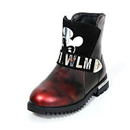 Girl's Boots Winter Fashion Boots / Round Toe PU Outdoor / Casual Flat Heel Others / Zipper B Brown / Red Others