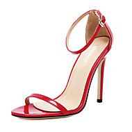 Sandaalit-Piikkikorko-Naisten-Nahka PVC-Musta Punainen Valkoinen Manteli-Häät Puku-Comfort