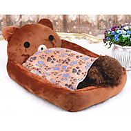 Cat / Dog Bed Pet Mats & Pads Cartoon Bear Soft Cotton / Fabric Brown