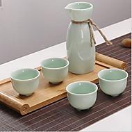 יין בסגנון יפני קרמיקה סלדון להגדיר עבור ערכת מתנות יין לבן (כולל 1 קנקן 4 כוסות)