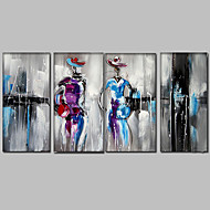 Ručně malované Abstraktní / Lidé / Abstraktní portrét olejomalby,Moderní / Středomoří Čtyři panely Plátno Hang-malované olejomalba For