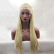 Mulher Perucas sintéticas Frente de Malha Longo Liso Loiro Morango Perucas Trançadas Tranças Africanas Riscas Naturais Peruca Afro