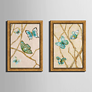 E-HOME® Framed Canvas Art, Butterfly Dance Framed Canvas Print Set Of 2
