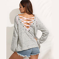 Vår / Höst Enfärgad Långärmad Ledigt/vardag T-shirt,Streetchic Kvinnors Rund hals Bomull Medium Grå