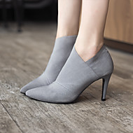 Women's Boots Bootie PU Fall Winter Casual Bootie Stiletto Heel Black Gray 2in-2 3/4in