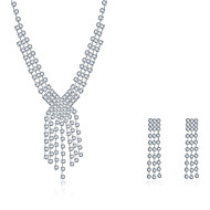 2016 Noble Luxury Exaggerated Tassel Wedding Bridal Silver Zircon Necklace Earrings Party Jewelry Set