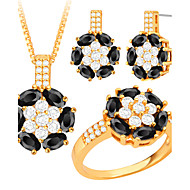 Fashion Jewelry Trends Crystal Flower 18K Gold/Platinum Plated Necklace&Earring Set For Women Party Gift S20188