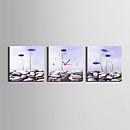 Modern/Çağdaş Çiçek/Botanik Duvar Saati,Dörtgen Kanvas 25 x 25cm(10inchx10inch)x3pcs İç Mekan Saat