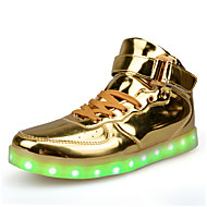 Men's Flats Spring Fall Comfort Patent Leather Athletic Flat Heel Lace-up LED Red Silver Gold